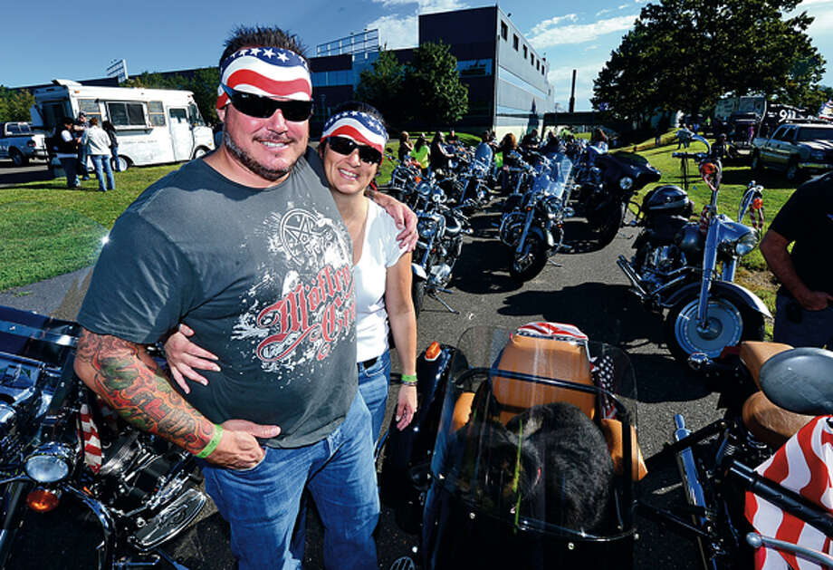 Al and Laura Nathan and The CT United Ride tribute started out from Norden Park Sunday for the 12th annual motorcycle ride to benefit first responders and families affected by 9/11. Hour photo / Erik Trautmann / (C)2012, The Hour Newspapers, all rights reserved