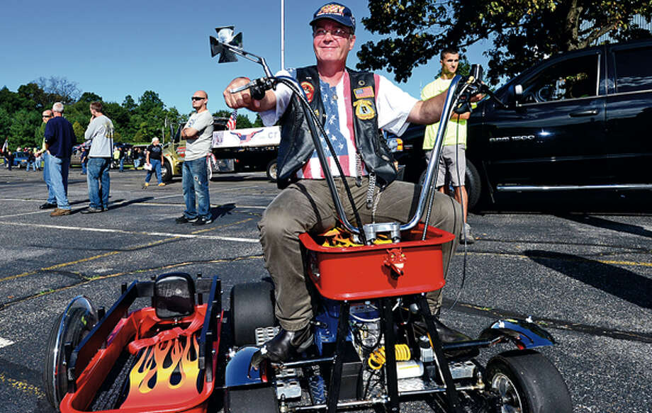 Russell Westerholm and The CT United Ride tribute started out from Norden Park Sunday for the 12th annual motorcycle ride to benefit first responders and families affected by 9/11. Hour photo / Erik Trautmann / (C)2012, The Hour Newspapers, all rights reserved