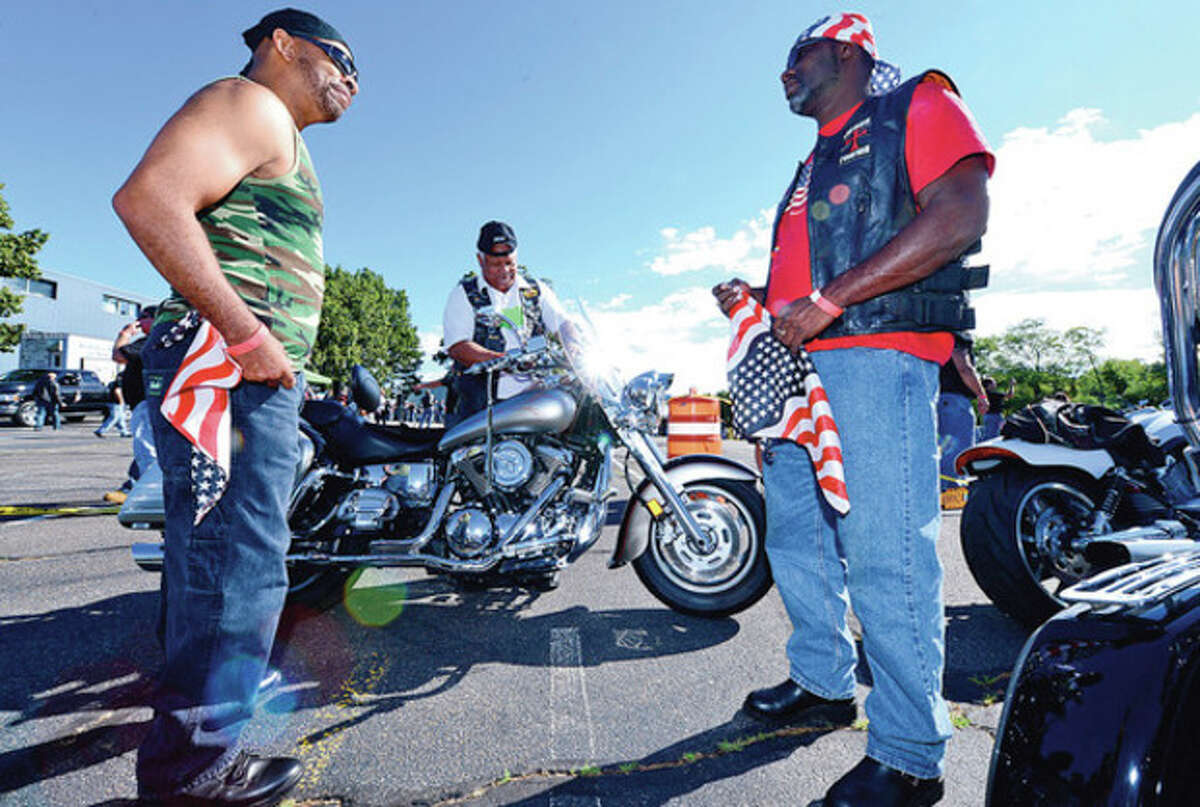 Keith Myrick, Butch Peters and Anthony Jones and The CT United Ride tribute started out from Norden Park Saturday for the 12th annual motorcycle ride to benefit first responders and families affected by 9/11. Hour photo / Erik Trautmann