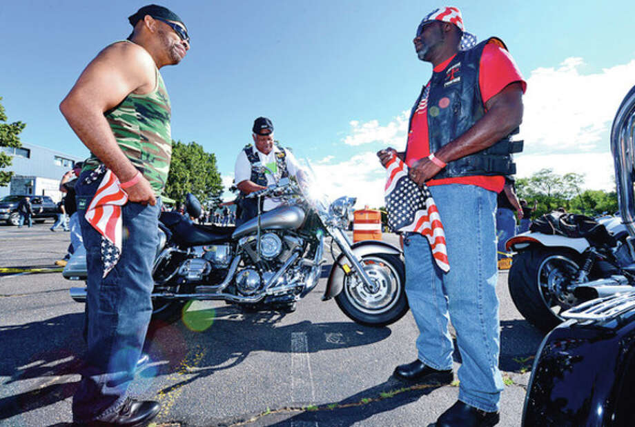 Keith Myrick, Butch Peters and Anthony Jones and The CT United Ride tribute started out from Norden Park Saturday for the 12th annual motorcycle ride to benefit first responders and families affected by 9/11.Hour photo / Erik Trautmann / (C)2012, The Hour Newspapers, all rights reserved
