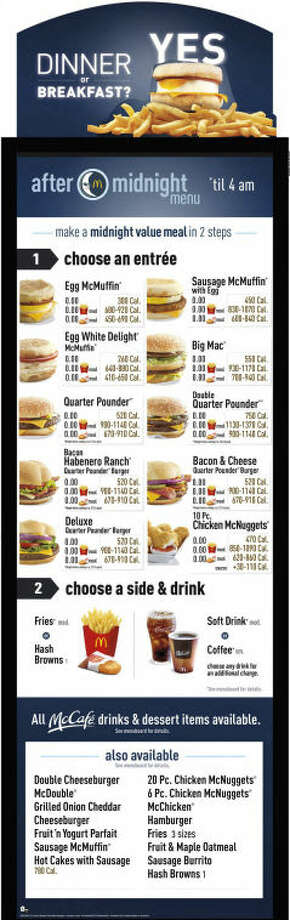 "This photo provided by McDonald's shows the restaurant's ""After Midnight"" menu. McDonald's says the ""After Midnight"" menu mixing breakfast and burgers will be available at select 24-hour locations beginning June 2013. (AP Photo/McDonald's)"