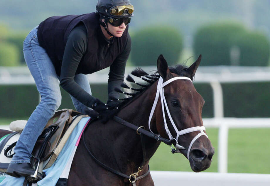 Unlimited Budget gallops on the track at Belmont Park during a morning workout Thursday, June 6, 2013 in Elmont, N.Y. The filly is entered in Saturday's Belmont Stakes horse race. (AP Photo/Mark Lennihan) / AP