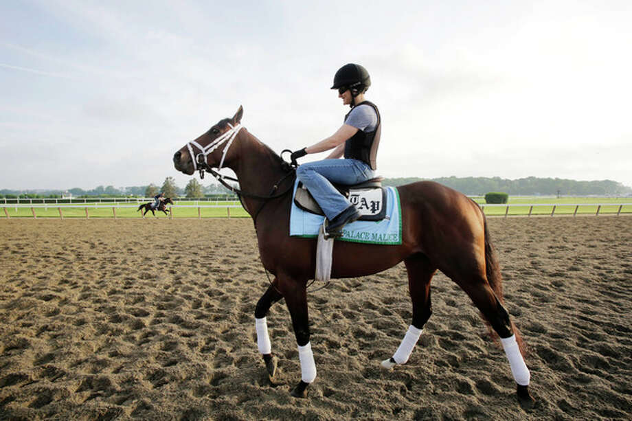 Palace Malice enters the track at Belmont Park for a morning workout Thursday, June 6, 2013 in Elmont, N.Y. Palace Malice is entered in Saturday's Belmont Stakes horse race. (AP Photo/Mark Lennihan) / AP