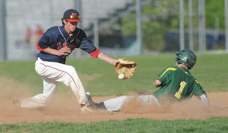 Hour photo/John NashBrien McMahon shortstop/pitcher Mark Ballard, left, will be one of the key players for the Norwalk American Legion baseball team this summer.