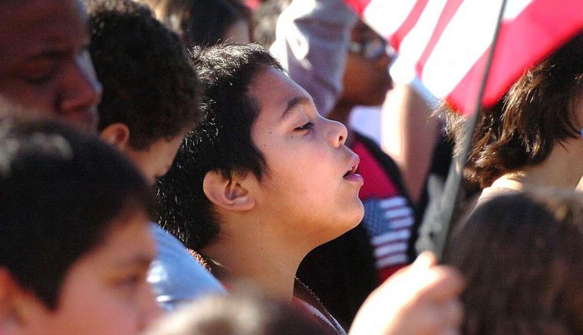 Hour Photo/ Alex von Kleydorff. Students listen during a 9/11 program at West Rocks School on Tuesday