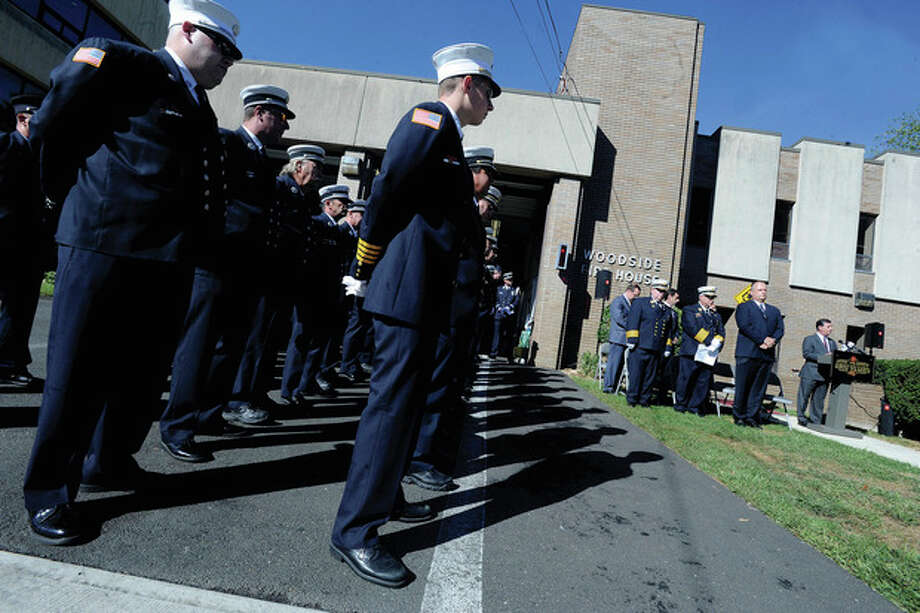 The Stamford Fire & Rescue Department and Stamford Professional Fire Fighters Association holds it's 9/11 memorial observation Tuesday. photo/Matthew Vinci / (C)2011 {your name}, all rights reserved