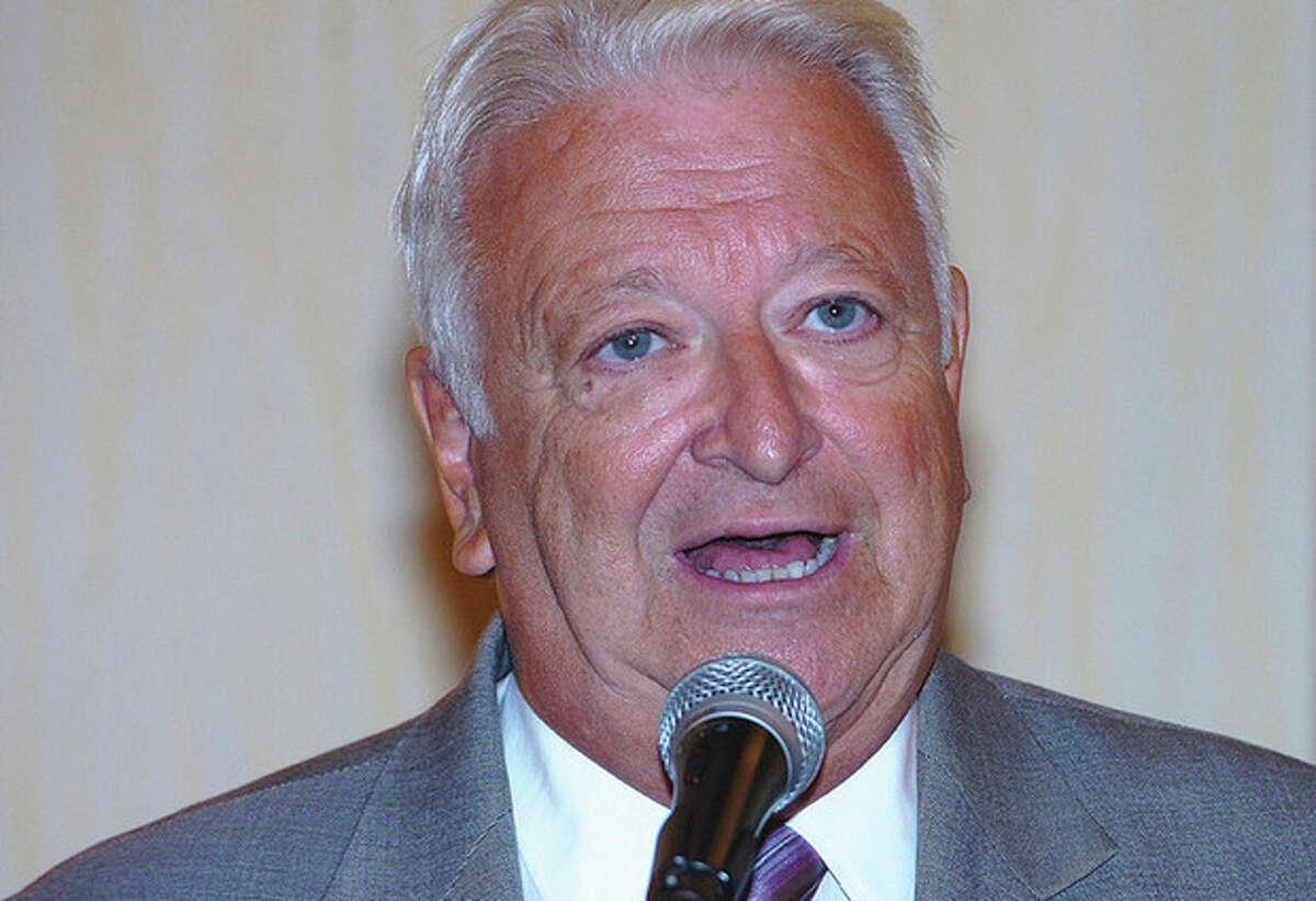 Hour Photo/ Alex von Kleydorff. Norwalk Mayor Richard Moccia speaks during the Norwalk Chamber Mayors Roundtable on Wednesday.