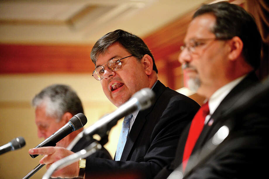 The four democratic candidates for mayor of Norwalk including Matt Miklave debate Friday morning at the Norwalk Inn in an event sponsored by The Hour. Hour photo / Erik Trautmann / (C)2013, The Hour Newspapers, all rights reserved