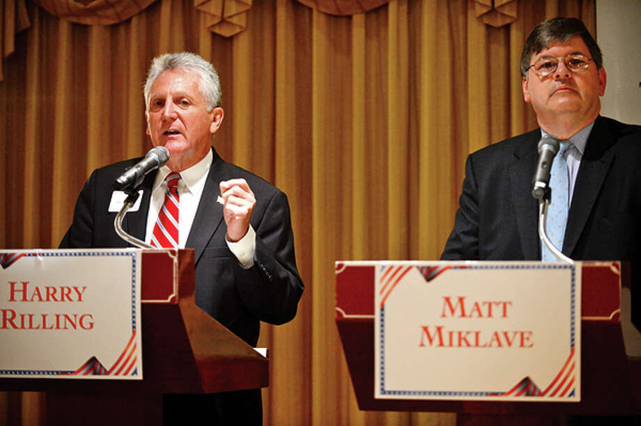 The four democratic candidates for mayor of Norwalk including Harry Rilling and Matt Miklave debate Friday morning at the Norwalk Inn in an event sponsored by The Hour. Hour photo / Erik Trautmann / (C)2013, The Hour Newspapers, all rights reserved