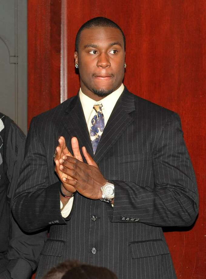 Alex Jones, a former player for Temple and teammate of Vlad Ducasse at Stamford High School, is on hand as a possible NFL draft pick, during the NFL draft pick gathering at Morton's Steakhouse in downtown Stamford, Conn. on Friday April 23, 2010. Photo: Christian Abraham / Connecticut Post