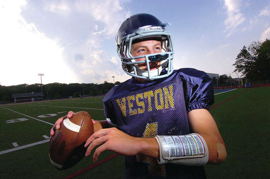 Hour Photo/ Alex von Kleydorff. Weston Quaterback Tyler Hassett. / 2012 The Hour Newspapers