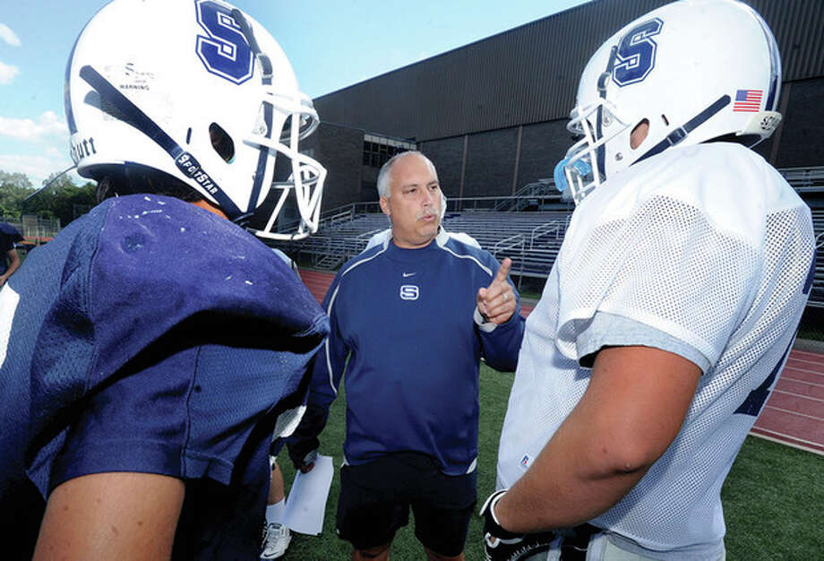 Marce Petroccio, head football coach for Staples football begins his 20th season at the school. hour photo/Matthew Vinci