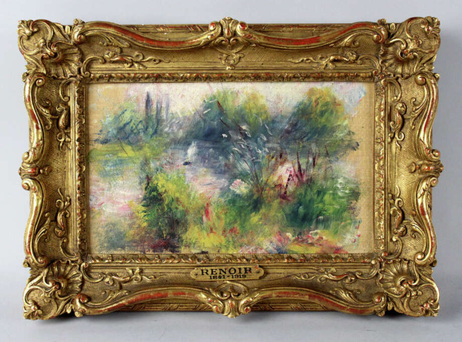 "This image released by Potomack Company shows an apparently original painting by French impressionist Pierre-Auguste Renoir that was acquired by a woman from Virginia who stopped at a flea market in West Virginia and paid $7 for a box of trinkets that included the painting. Anne Norton Craner, fine arts director for the Potomack Co. auction house in Alexandria, Va., says the woman made an appointment in July to see if it might be real. Craner says the painting was verified through a close look at the colors and brushwork along with the help of the French publisher of a catalog of Renoir's work. Craner said the painting is ""Paysage Bords de Seine."" (AP Photo/Potomack Company) / Potomack Company"