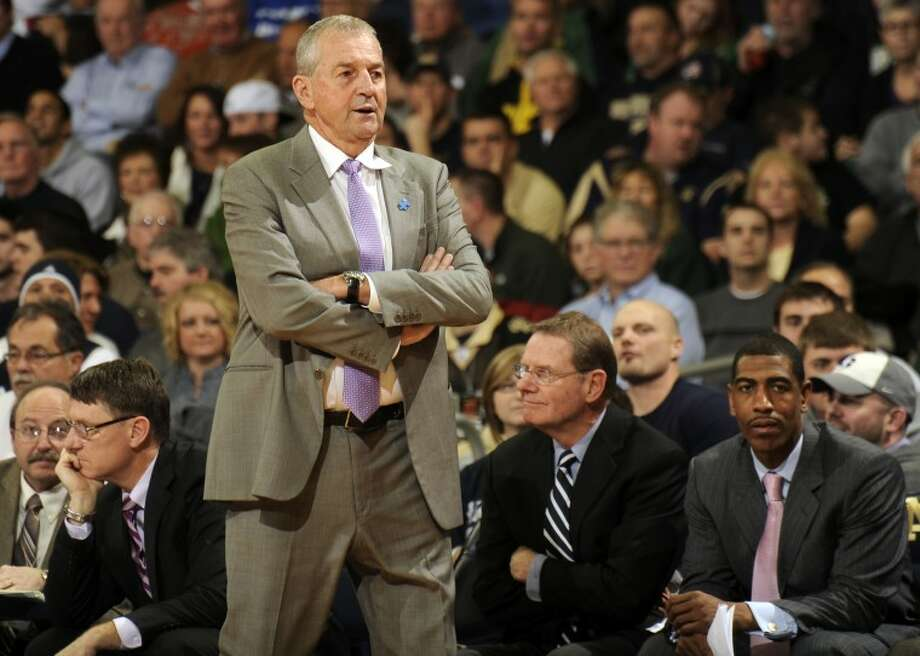 FILE - In this Jan. 14, 2012, file photo, Connecticut coach Jim Calhoun reacts to a call during an NCAA college basketball against Notre Dame, in South Bend, Ind. Calhoun is taking an indefinite medical leave of absence, the school announced Friday, Feb. 3, 2012. The Hall of Fame coach, who turns 70 in May, has been suffering for several months from spinal stenosis, a lower back condition that causes him severe pain and hampers mobility, the school said Friday in a news release. (AP Photo/Joe Raymond, File)