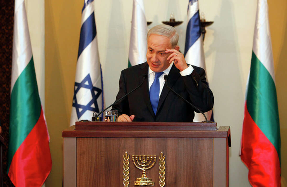 AP Photo/Gali Tibbon, Pool Israeli Prime Minister Benjamin Netanyahu speaks during a joint press conference with his Bulgarian counterpart Boyko Borissov, not seen,in Jerusalem, Tuesday, Sept. 11.