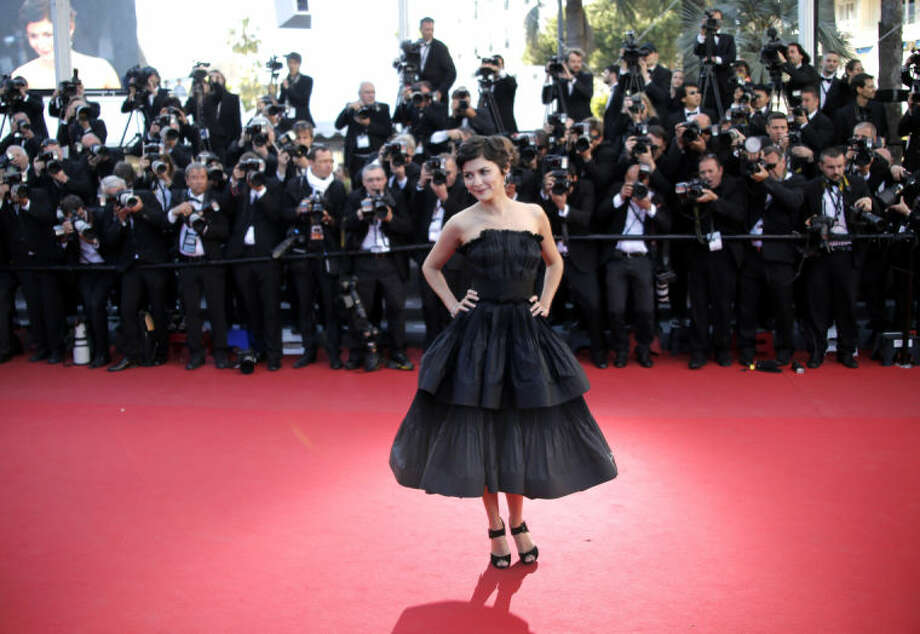 Actress Audrey Tatou arrives for the screening of Venus in Fur at the 66th international film festival, in Cannes, southern France, Saturday, May 25, 2013. (AP Photo/Francois Mori)