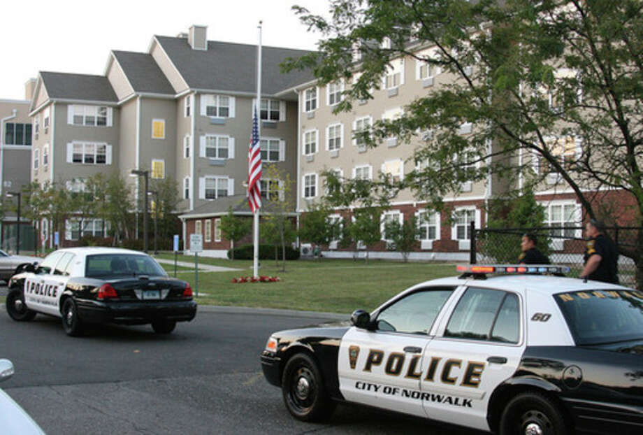 Photo by Chris BosakNorwalk Police responded in force to a reported shooting at 80 Fair Street on Thursday evening.