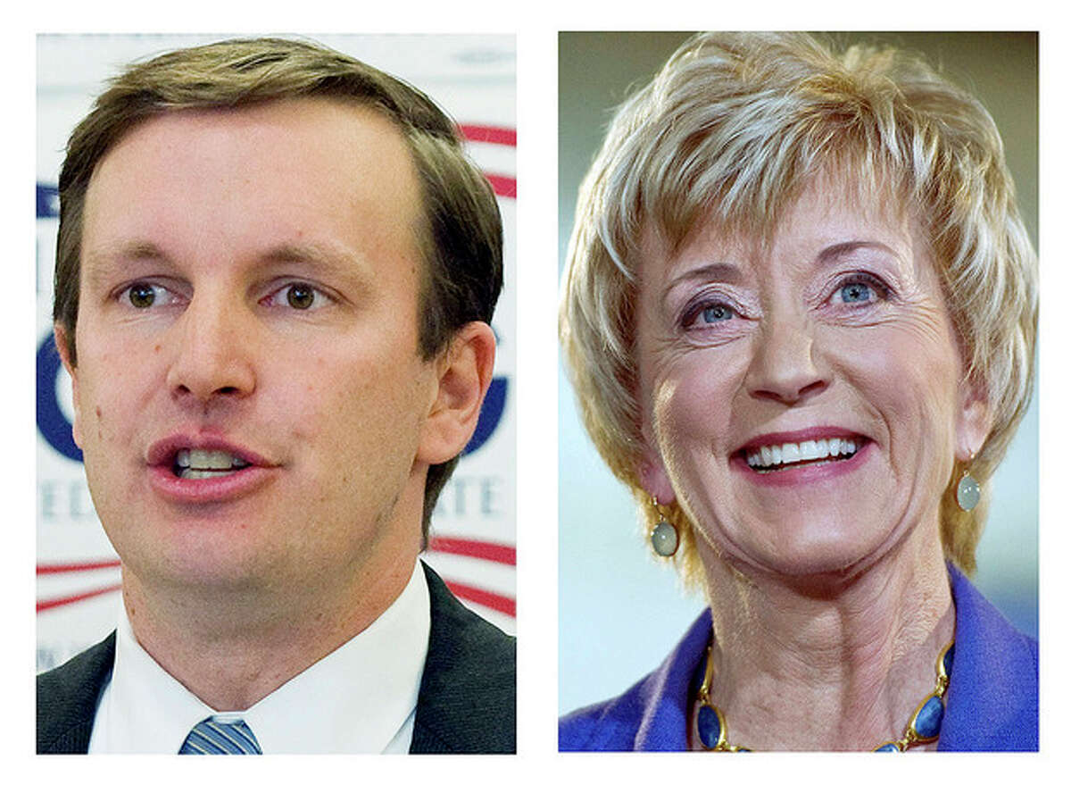 This panel of 2012 file photos shows U.S. Rep. Chris Murphy, left, and Republican former wrestling executive Linda McMahon,are running for the U.S. Senate seat being vacated by the retiring Sen. Joe Lieberman in the November general election. (AP Photos)
