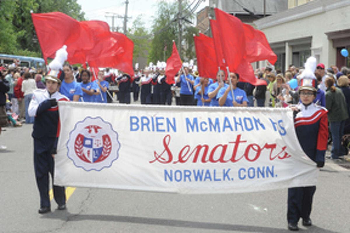 The Brien McMahon marching band Sunday at the Rowayton Memorial Day Parade. Hour photo/Matthew Vinci