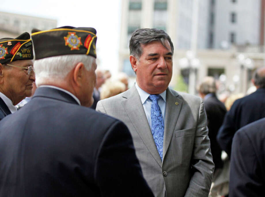 Mayor Michael Pavia speaks to veterans during the Homer L. Wise dedication ceremony after Stamford's Memorial Day Parade Sunday afternoon.Hour Photo / Danielle Robinson