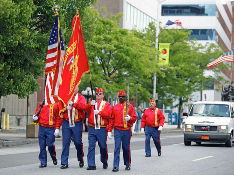 US Marine Veterans march in in Stamford's Memorial Day Parade Sunday afternoon.Hour Photo / Danielle Robinson