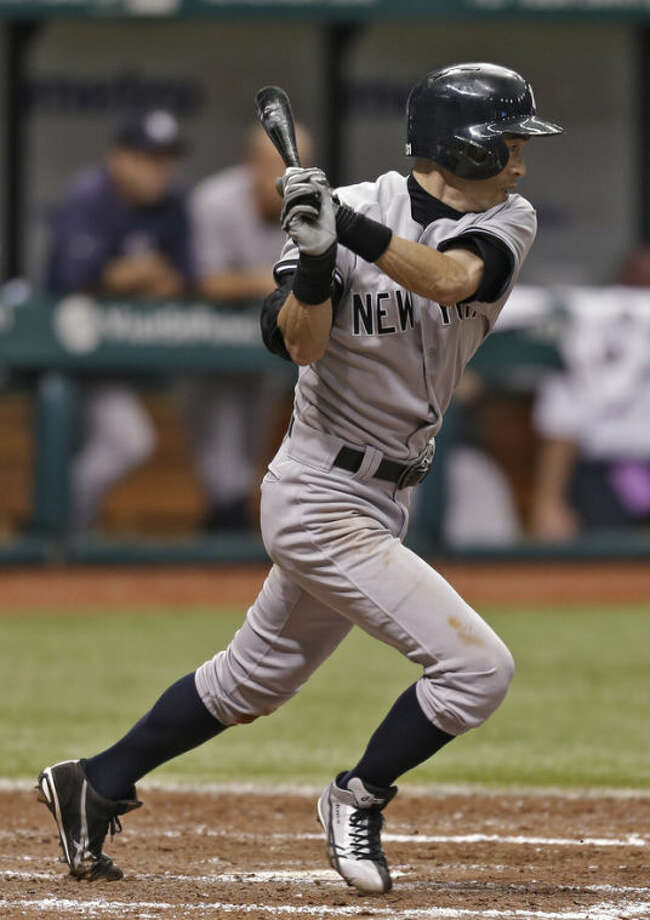 New York Yankees' Ichiro Suzuki, of Japan, hits a ground-out against the Tampa Bay Rays during the sixth inning of a baseball game on Saturday, May 25, 2013, in St. Petersburg, Fla. (AP Photo/Chris O'Meara)