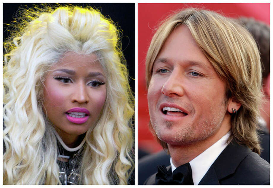 "This photo combination shows musicians Nicki Minaj, left, and Keith Urban. The ""American Idol"" judges' panel is now complete with the naming of singer-rapper Minaj and country crooner Urban. The Fox network officially tapped the pair with an announcement Sunday, Sept. 16, 2012, just hours before the first round of judging for next season was due to begin in New York. (AP Photo) / Joel Ryan, Lionel Cironneau"