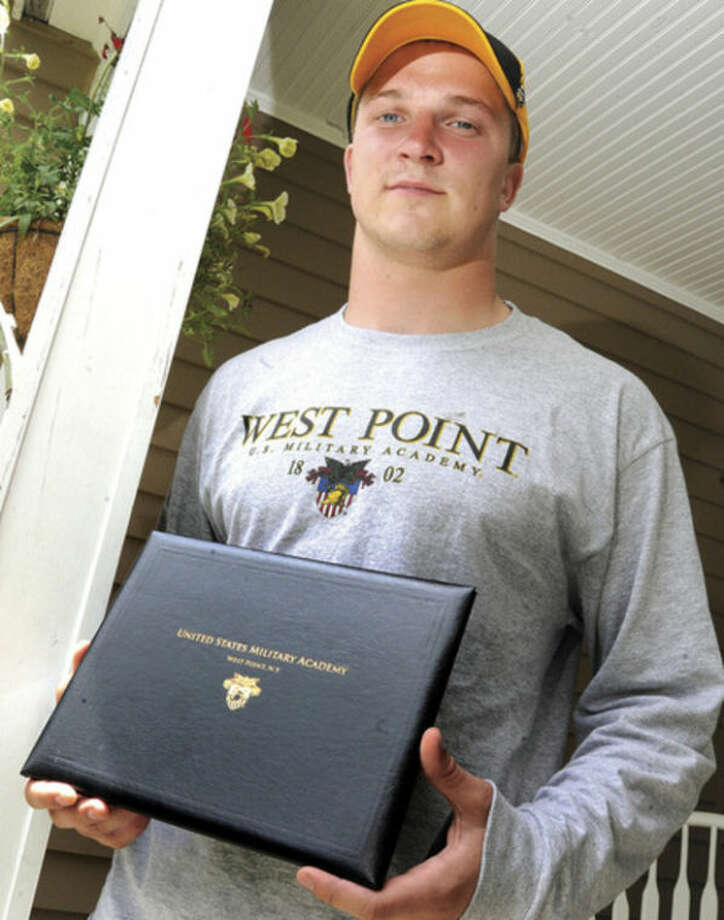 Hour photo / Matthew VinciPeter Bonenfant at his home in Westport. He has been accepted to Westpoint Military Academy.