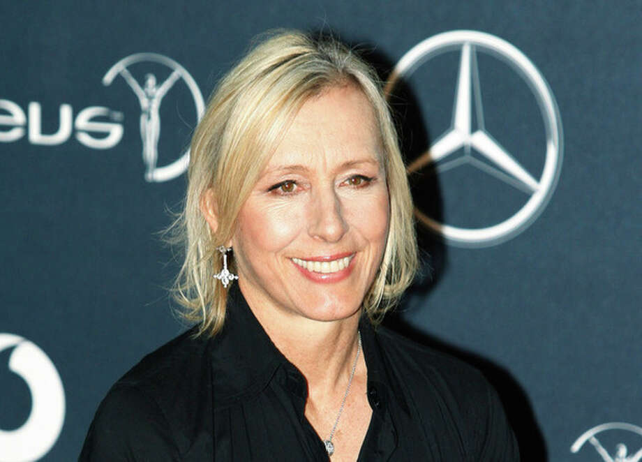 FILE - In this Feb. 6, 2012 file photo, former tennis player Martina Navratilova, arrives for the Laureus World Sports Awards in London. Navratilova is among several celebrities headed to New Orleans this week to celebrate and promote life after 50. More than a dozen celebrities are hosting talks and activities for aging Americans at the national conference of the AARP, which runs Thursday through Saturday at the Ernest N. Morial Convention Center and is expected to attract some 20,000 attendees. (AP Photo/Lefteris Pitarakis, file) / AP