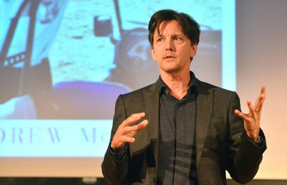 "Actor/writer Andrew Mccarthy talks bout his career as a travel writer and about his new bestseller ""The Longest Way Home"" at the Wilton Library on Thursday night."