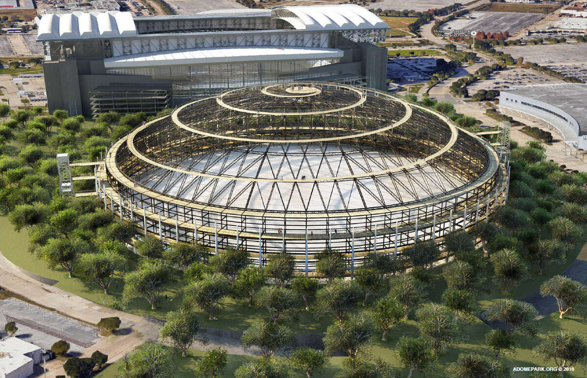 Two architects, James Richards and Ben Olschner, are proposing the Astrodome be stripped to its skeleton and used as an outdoor park. Click the gallery to see more renderings.