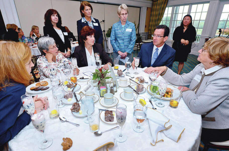 Hour photo / Erik TrautmannGov. Dannel P. Malloy speaks with the Darien League of Women Voters at the Country Club of Darien Tuesday. / (C)2012, The Hour Newspapers, all rights reserved