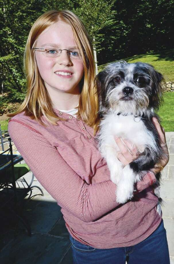 """13 year old Wilton resident, Claire Fraise, pictured with the two year old mixed bread, Romeo, has started Lucky Tails, an organization whose goal is to find """"Forever"""" homes for the strays she fosters.Hour photo / Erik Trautmann"""