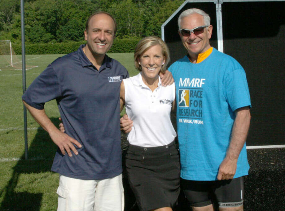 Paul and Kathy Giusti of the Multiple Myeloma Research Foundation with baseball legend Bobby Valentine at the MMRF Race for Research: Tri-State 5K Walk/Run held June 9, 2013 in New Canaan, CT.