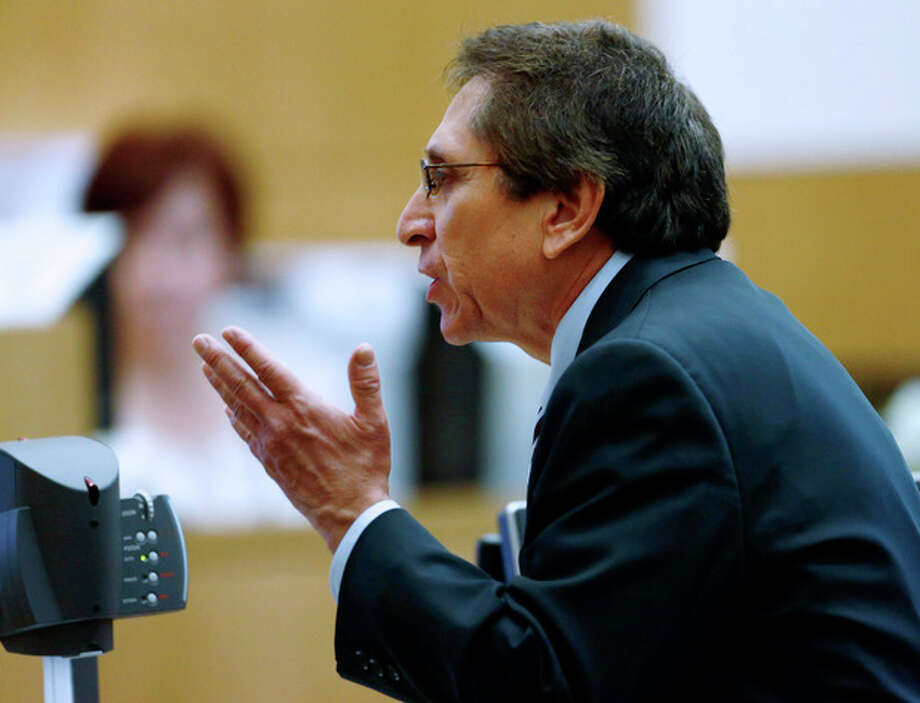 Prosecutor Juan Martinez makes his closing arguments in Jodi Arias' muder trial at Maricopa County Superior Court in Phoenix on Thursday, May 2, 2013. Arias is charged with first-degree murder in the stabbing and shooting death of Travis Alexander, 30, in his suburban Phoenix home in June 2008. (The Arizona Republic, Rob Schumacher, Pool) / The Arizona Republic, Pool