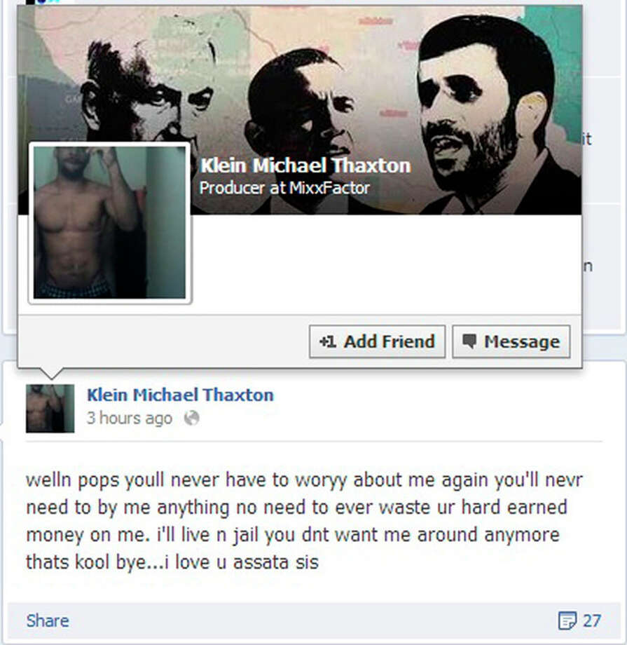 """A posting from the Facebook page of Klein Michael Thaxton is shown along with his cover photo. According to police, Thaxton, who is armed, took a hostage inside a downtown Pittsburgh office building Friday Sept 21, 2012 and posted Facebook updates, like the one shown, before his profile page was shut down. Thaxton wrote on Facebook that people will """"never have to woryy (sic) about me again"""" after he took a man hostage inside the office of a benefits administration firm on the 16th floor of Three Gateway Center. (AP Photo) / Facebook"""