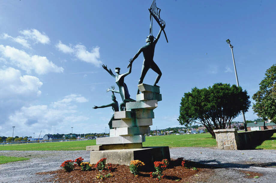 Hour photo / Erik TrautmannA sculpture decorates the new pedestrian entrance at Veterans Memorial Park in Norwalk. The Common Council's Recreation, Parks and Cultural Affairs Committee voted to send the master plan for the park to the full council for action. / (C)2012, The Hour Newspapers, all rights reserved