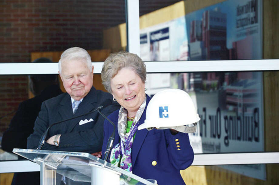 George and Carol Bauer reflect on their work with the Norwalk Hopsital as the hospital holds a groundbreaking ceremony for new ambulatory care pavilion Friday.Hour photo / Erik Trautmann / (C)2013, The Hour Newspapers, all rights reserved