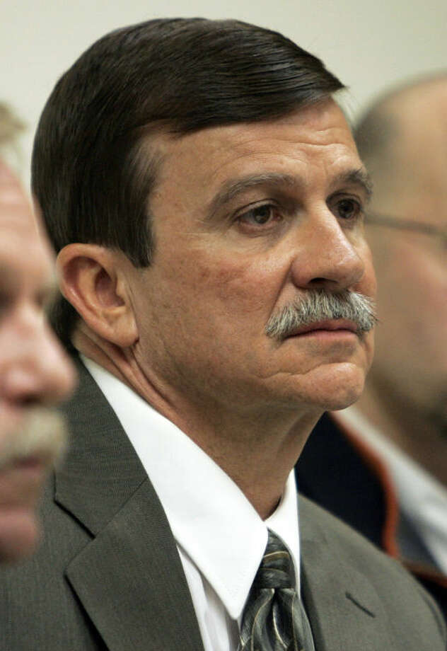 FILE - In this May 1, 2009 file photo, David Messenger listens to testimony during his appearance before the Connecticut Psychiatric Security Review Board at Connecticut Valley Hospital in Middletown, Conn. Messenger was found not guilty by reason of insanity of beating his pregnant wife to death in front of their 5-year-old son in 1998. The killing was caught on audio tape during her 911 call. The board is set Friday, May 3, 2013, to review whether he should be released. (AP Pool Photo/Bob Child, Pool, File)