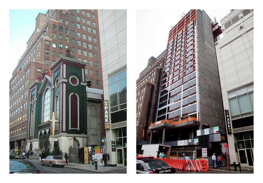 This combination of photos shows the Glad Tidings Tabernacle church on West 33rd Street in New York, on March 18, 2005, left, and a hotel being built at the site on May 24, 2012. When the dwindling congregation at Glad Tidings Tabernacle sold its big, crumbling Manhattan home in 2007, church leaders spent some of the $31 million on the Rev. Carl Keyes and a few of his supporters, according to real estate and other financial records. (AP Photo/nyc-architecture.com, Tom Fletcher, Mark Lennihan) / nyc-architecture.com, AP