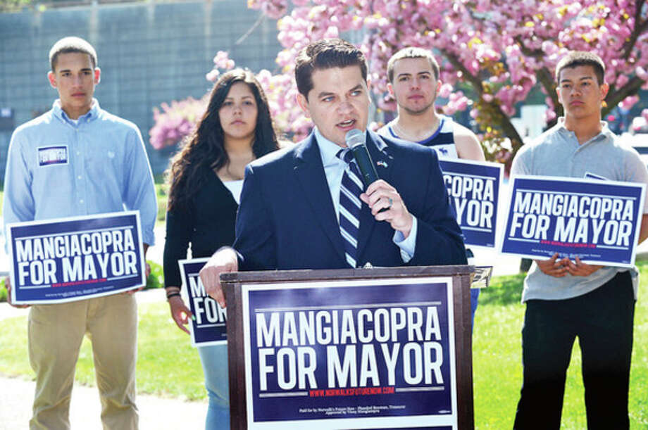 Hour photo / Erik TrautmannVinny Mangiacopra, Democratic candidate for Mayor of Norwalk, officially launches his grassroots campaign for mayor with key supporters from all over Norwalk during a reception at Fera Park Saturday. / (C)2013, The Hour Newspapers, all rights reserved