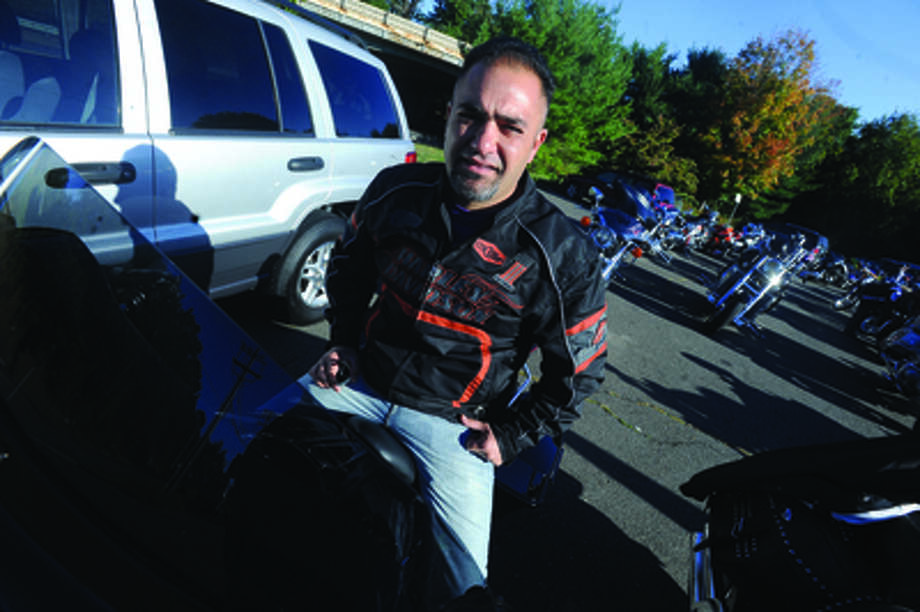 Mike DePreta at the Thunder on the Sound bike ride in Stamford Sunday to raise money for the Brian Bill Foundation. Brian was a Navy Seal killed in Afghanistan. Hour photo/Matthew Vinci
