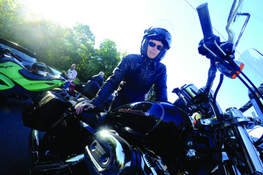 Tom Getreuer with his Harley Davidson Sportster 1200 C at the Thunder on the Sound bike ride in Stamford Sunday to raise money for the Brian Bill Foundation. Brian was a Navy Seal killed in Afghanistan. Hour photo/Matthew vinci