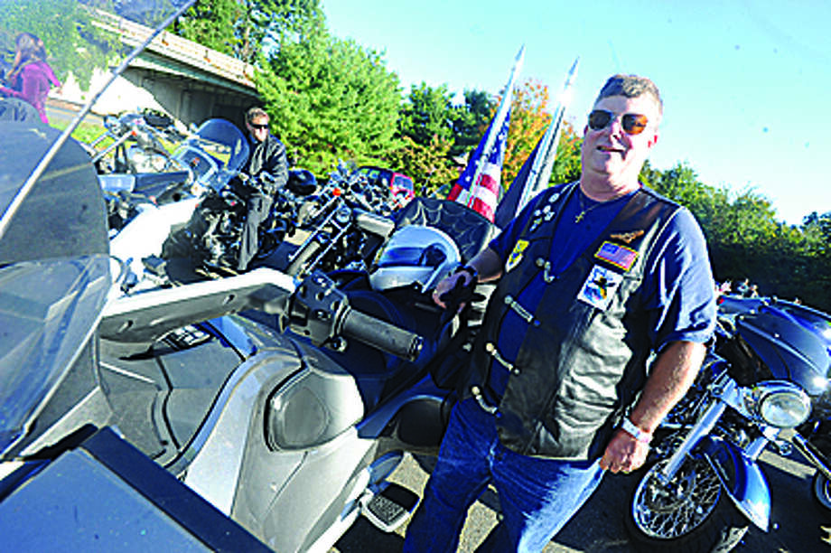 ED Parshall at the Thunder on the Sound bike ride in Stamford Sunday to raise money for the Brian Bill Foundation. Brian was a Navy Seal killed in Afghanistan. Hour photo/Matthew Vinci