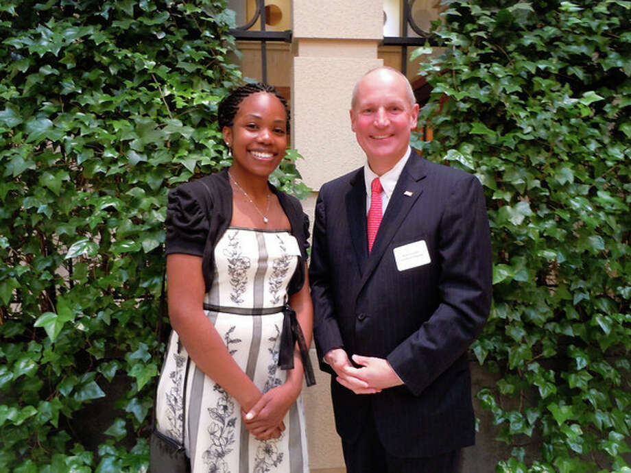 "Stamford Hospital President and CEO Brian Grissler stands alongside Ashyla Cody, a senior at Stamford High School. Grissler was recently awarded the ""Heart of Gold Award"" by the Volunteer Center of United Way of Western Connecticut."