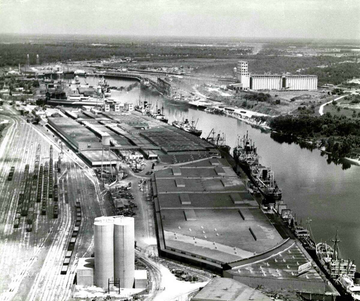 Aerial of Long Reach Terminal in the Houston Ship Channel at the Port of Houston, 1953.