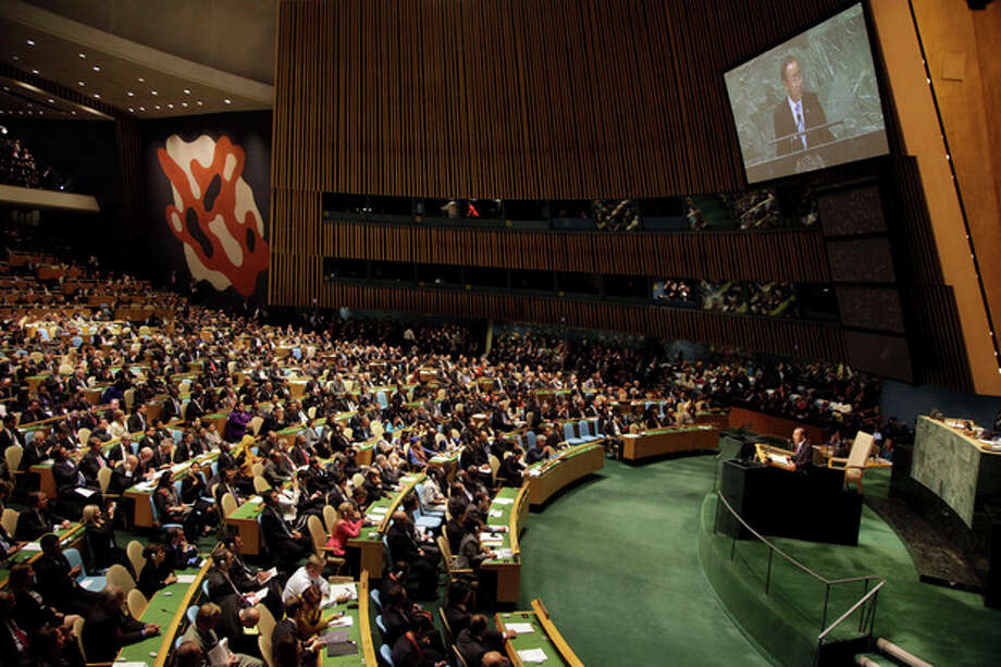 United Nations Secretary-General Ban Ki-moon addresses the 67th session of the U.N. General Assembly at U.N. headquarters Tuesday, Sept. 25, 2012. (AP Photo/Mary Altaffer) / AP