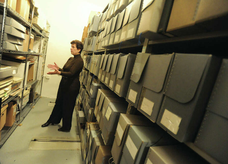 Hour file photo / Matthew VinciSusan Gunn Bromley, as curator of the Norwalk Museum, offered a tour in February pointing out records for police, hospital and family genealogy.