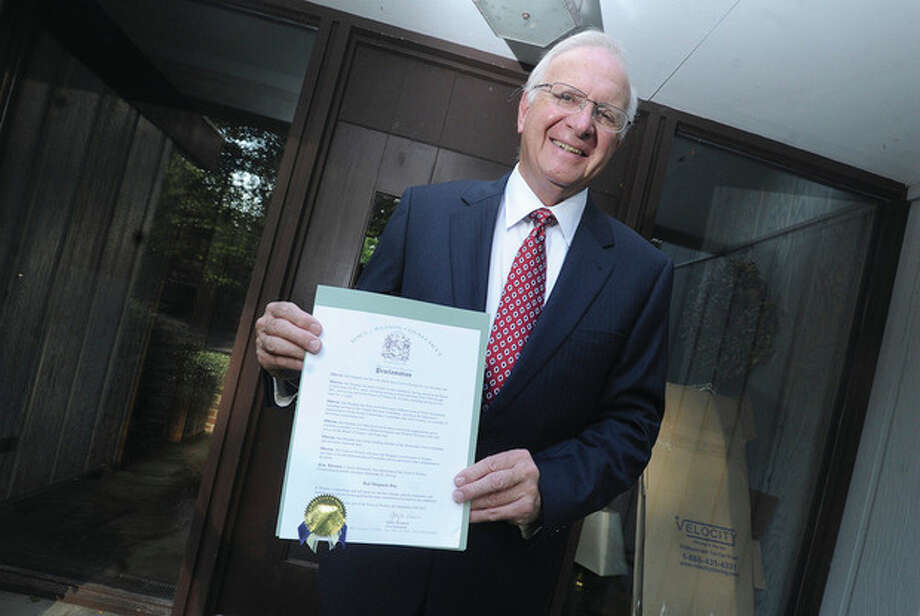 "Hour photo / Matthew VinciHal Shupack ismoving to Westport after serving the town of Weston on many boards since the 1970s. He was honored with a""Hal Shupack Day"" proclamation by First Selectman Gayle Weinstein. / (C)2011 {your name}, all rights reserved"