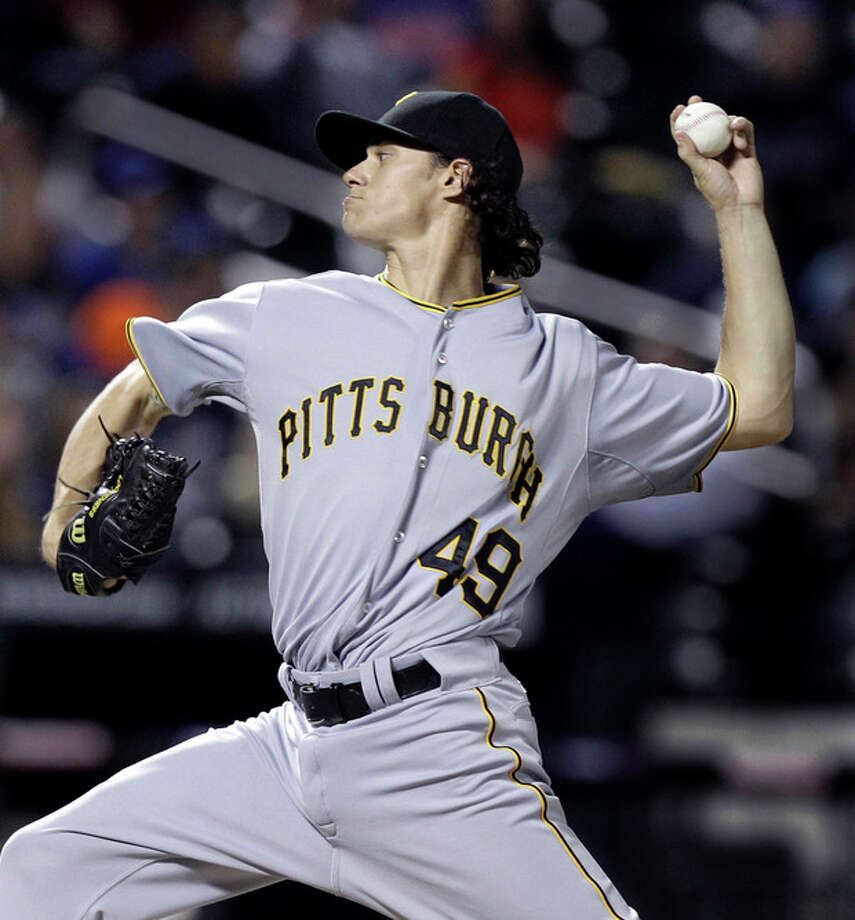 Pittsburgh Pirates starting pitcher Jeff Locke delivers in the first inning against the New York Mets in the inning of their baseball game at Citi Field in New York , Wednesday, Sept. 26, 2012. (AP Photo/Kathy Willens) / AP